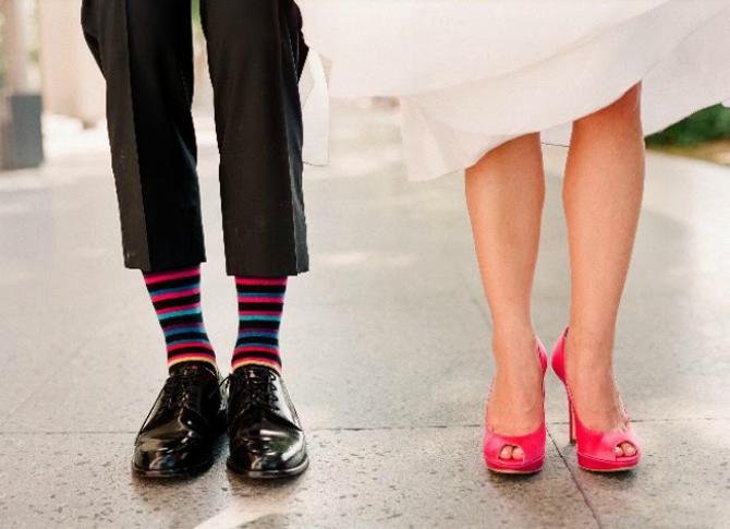 Šarene čarape Cipele za mladu u jarkim bojama