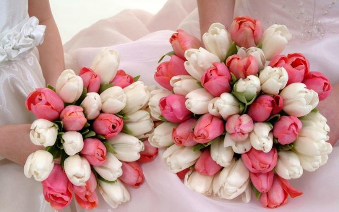 Belo roze Bidermajeri od lala