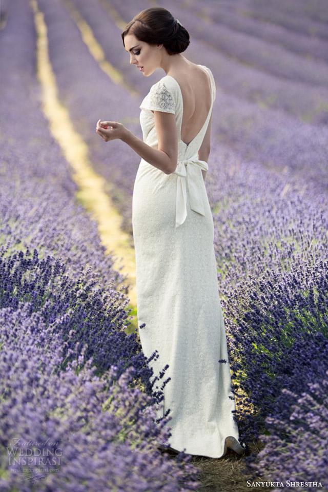 sanyukta shrestha 2014 bridal ruston short sleeve wedding dress v back open Venčanica dana: Jednostavna romantika