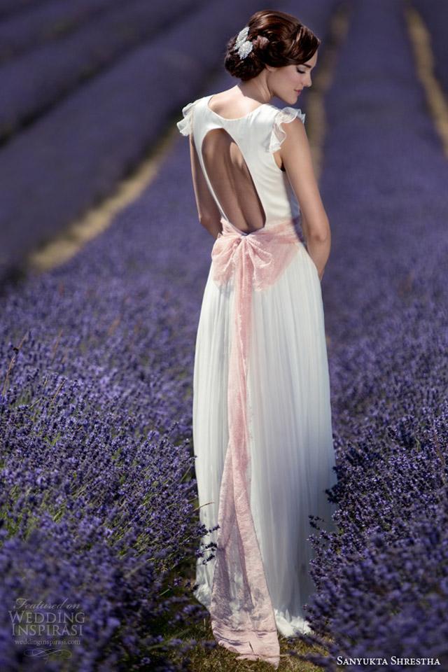 sanyukta shrestha eco wedding dresses 2014 kathleen flutter sleeve gown pink sash keyhole back Venčanica dana: Romantična inspiracija