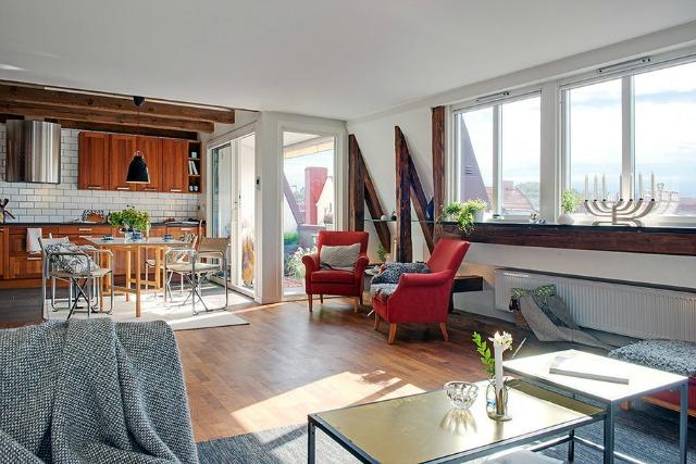 design Swedish apartment Rustičan i topao dom u Švedskoj