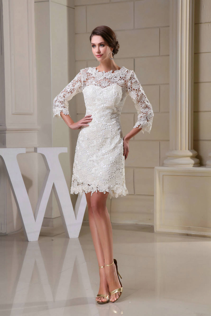 WD5 041 High Neck Column Satin Floral Mini Wedding Dresses Sedam jesenjih trendova