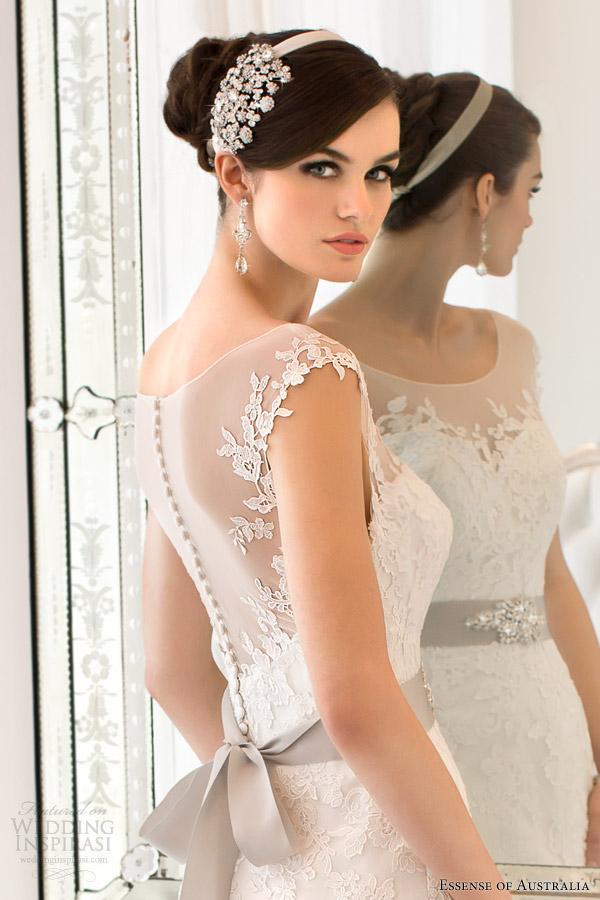 essense of australia 2014 cap sleeve illusion back wedding dress style 1562 close up Aksesoar dana: Velika šnala