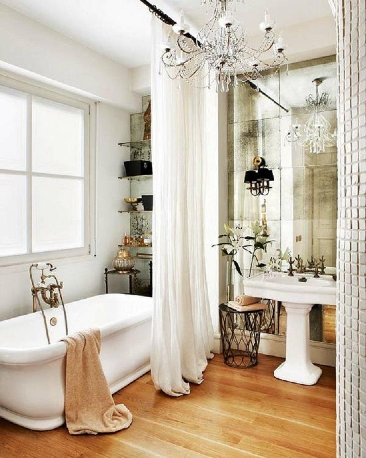 White Clear Curtain for an Elegant Touch in Bathroom Kul enterijer: Oživite kupatilo!