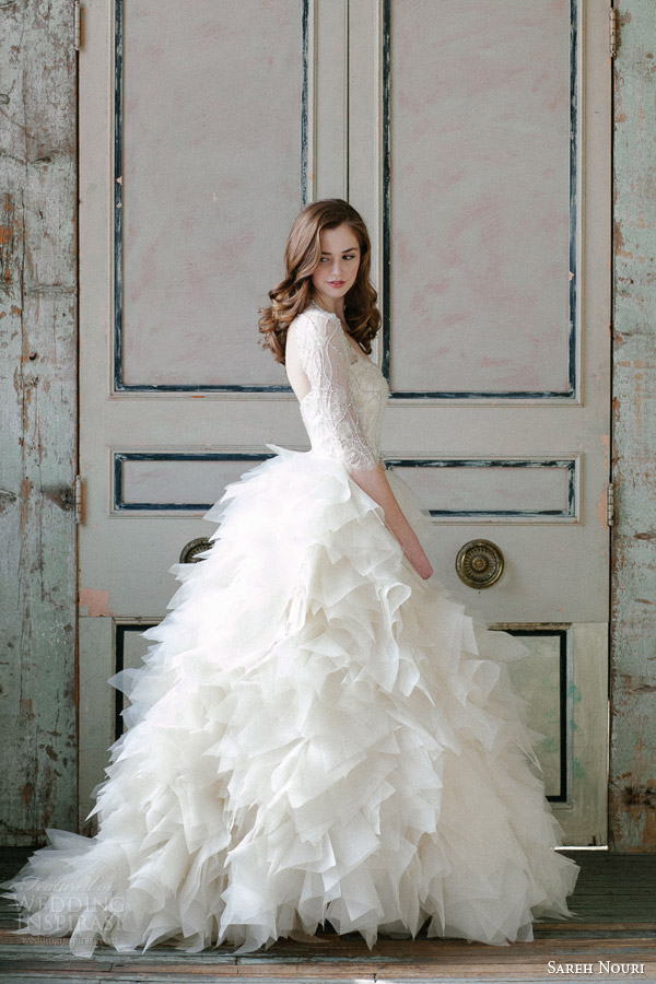 sareh nouri spring 2015 sawyer sleeve ball gown wedding dress Modna inspiracija: Venčanica inspirisana prolećem