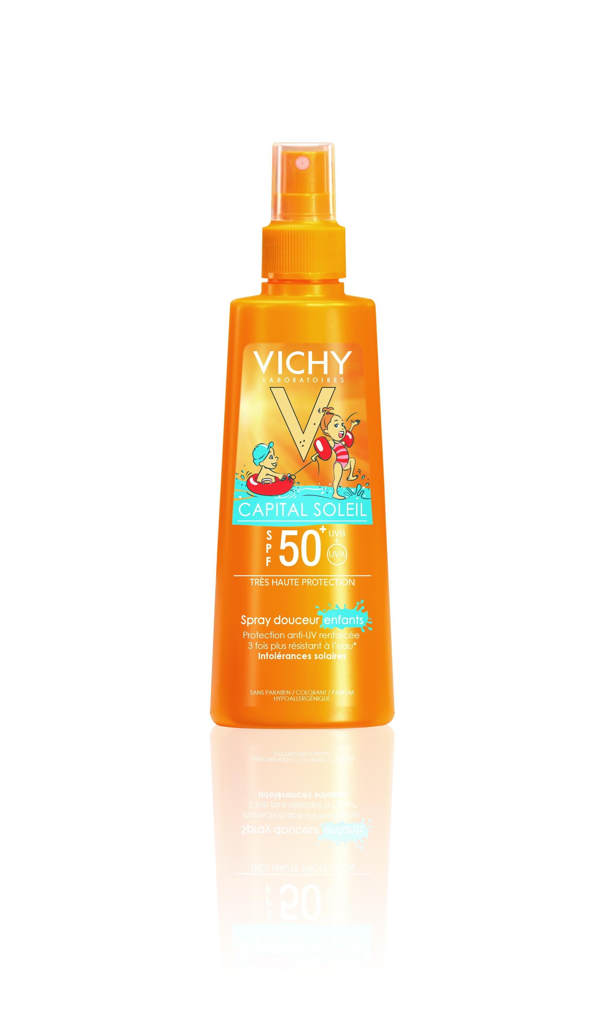 VICHY CS kids spray SPF 50+ Ambiance Capital Soleil super pena SPF 50: Visoka zaštita za osetljivu dečiju kožu