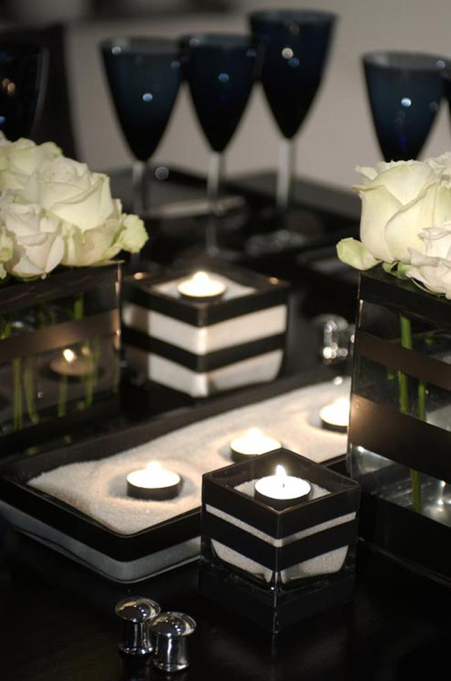 crno bela svadbena dekoracija2 Svadbena dekoracija: Crno bela klasika!
