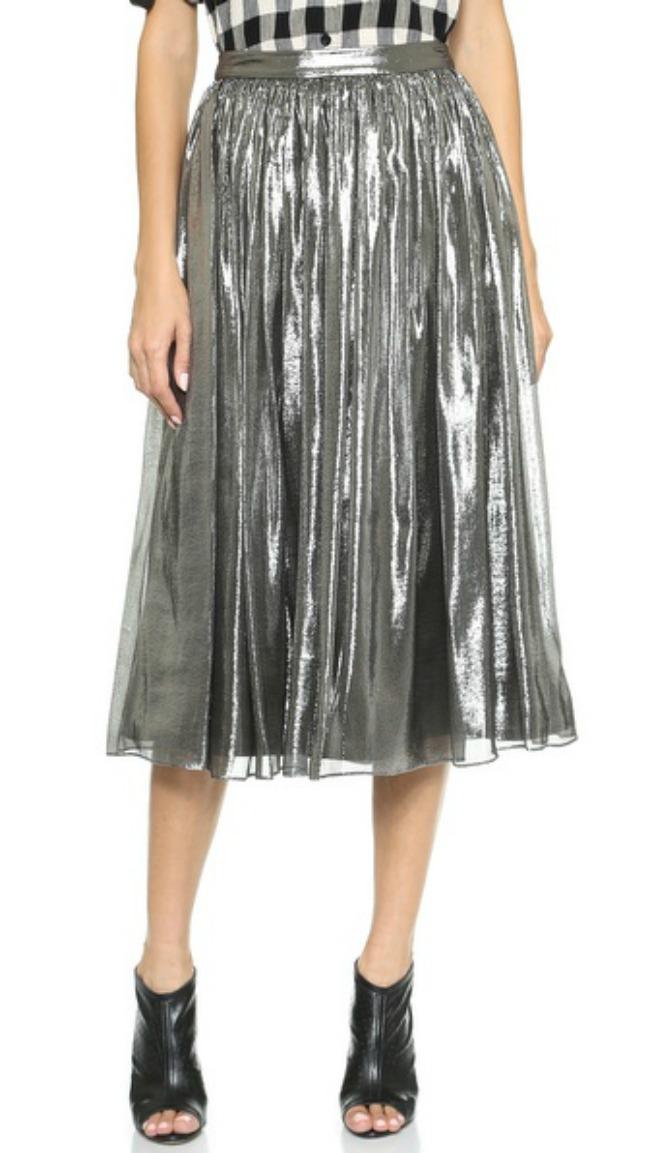 modni predlog za kume metalik plisirana suknja alice + olivia Modni predlog za kume: Metalik plisirana suknja