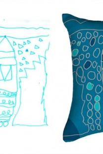 Dečiji crteži na jastucima i haljinama