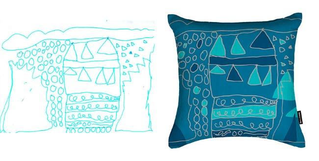 jastuk11 Dečiji crteži na jastucima i haljinama