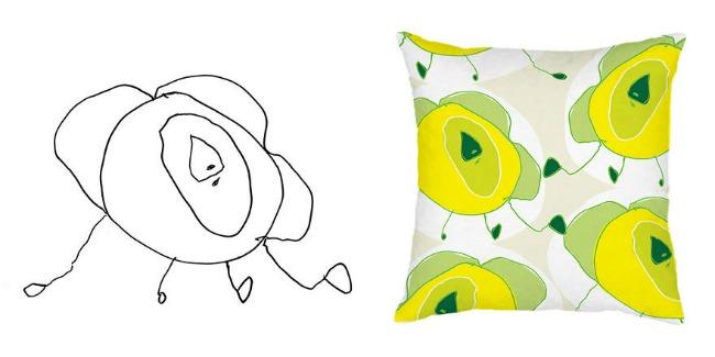 jastuk22 Dečiji crteži na jastucima i haljinama