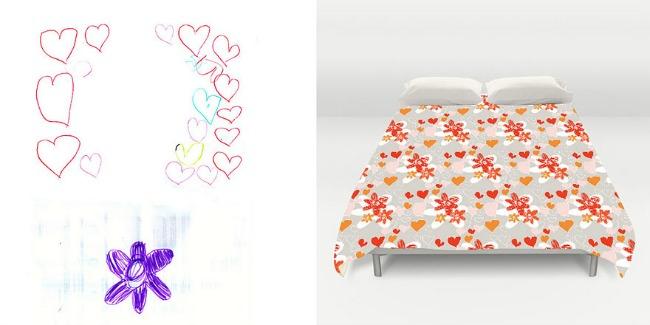 posteljina1 Dečiji crteži na jastucima i haljinama