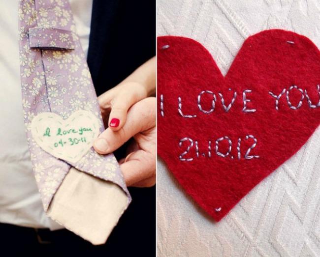 romanticne ideje za vase vencanje poruka na kravati Romantične ideje za vaše venčanje