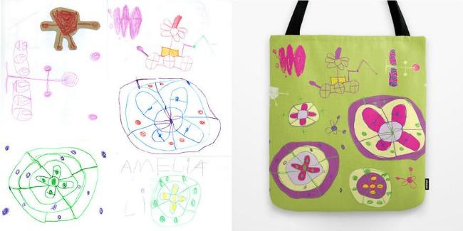 torba i crteži1 Dečiji crteži na jastucima i haljinama