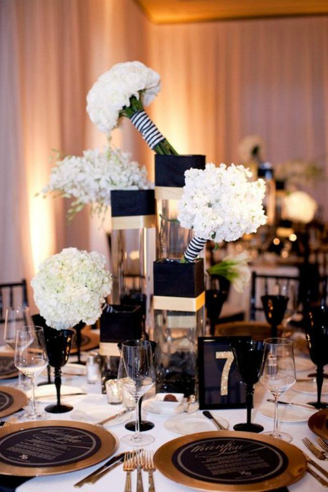 crno i zlatno idealna kombinacija za vencanje dekoracija stola Crno i zlatno: Idealna kombinacija za venčanje