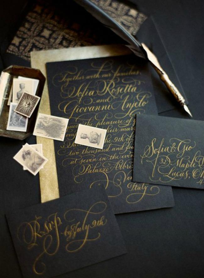 crno i zlatno idealna kombinacija za vencanje pozivnice Crno i zlatno: Idealna kombinacija za venčanje