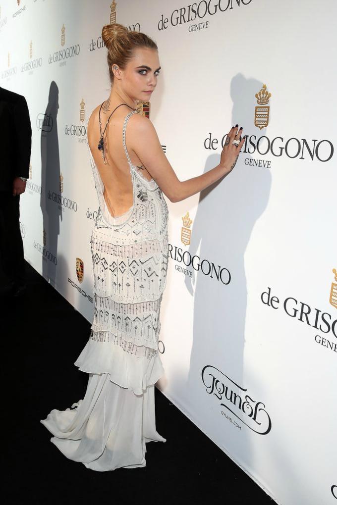 Cara Delevingne roberto Cavalli Venčajte se u haljini otvorenih leđa