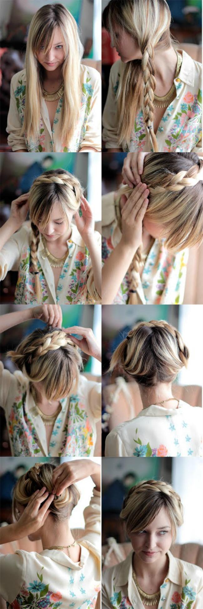 Ruska pletenica Laka frizura za kume: Ukrajinska pletenica