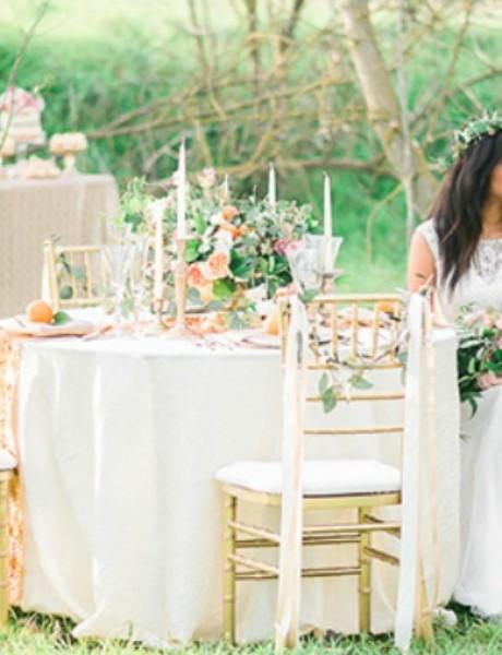 Prolećno venčanje u pastelno-zlatnim tonovima