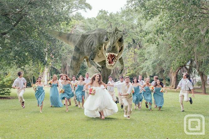 fotografije mladenaca inspirisane parkom iz doba jure Fotografije sa venčanja koje će vas nasmejati