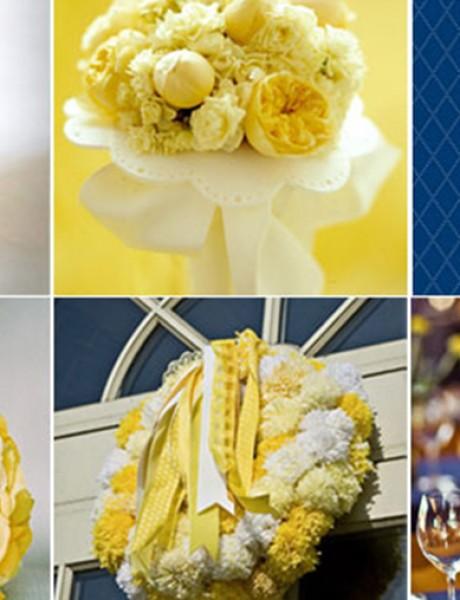 Plavo-žuta dekoracija za venčanje