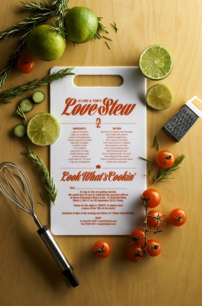 pozivnice u obliku recepta Inspirativne pozivnice za venčanja