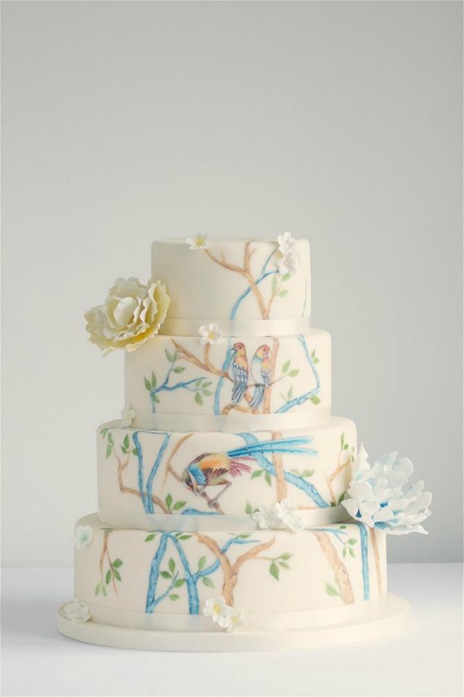 ptičice na mladenačkoj torti Mladenačka torta je jedan od najlepših ukrasa na venčanju