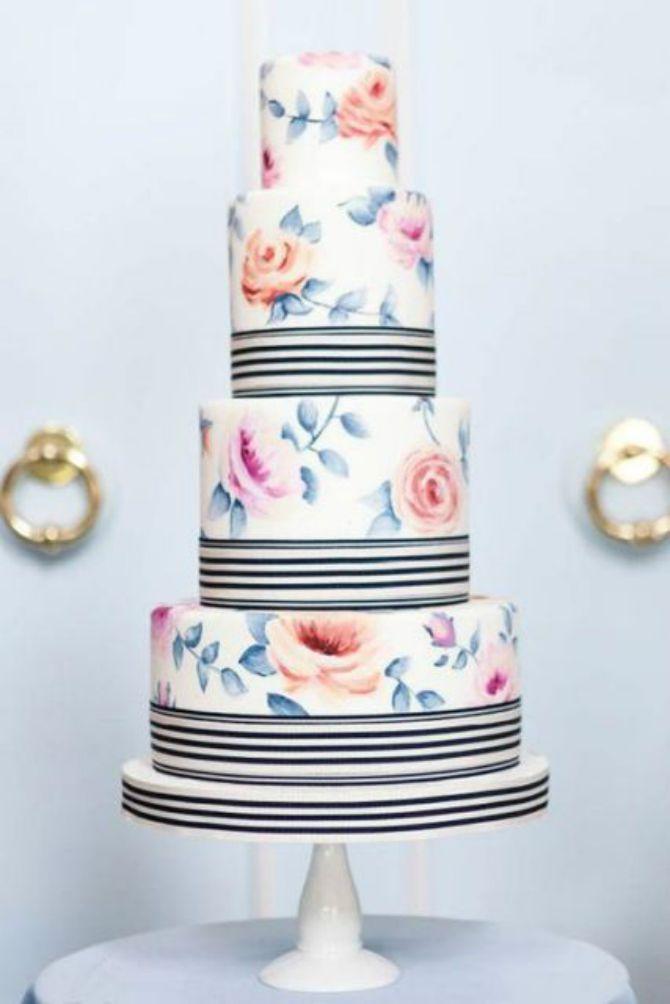 mladenacka torta na pruge5 Elegantne prugaste mladenačke torte