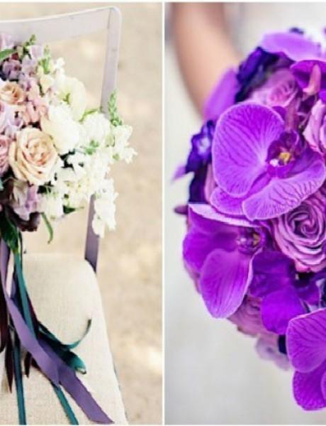 Predivni buketi za mlade izrađeni od ljubičastog cveća
