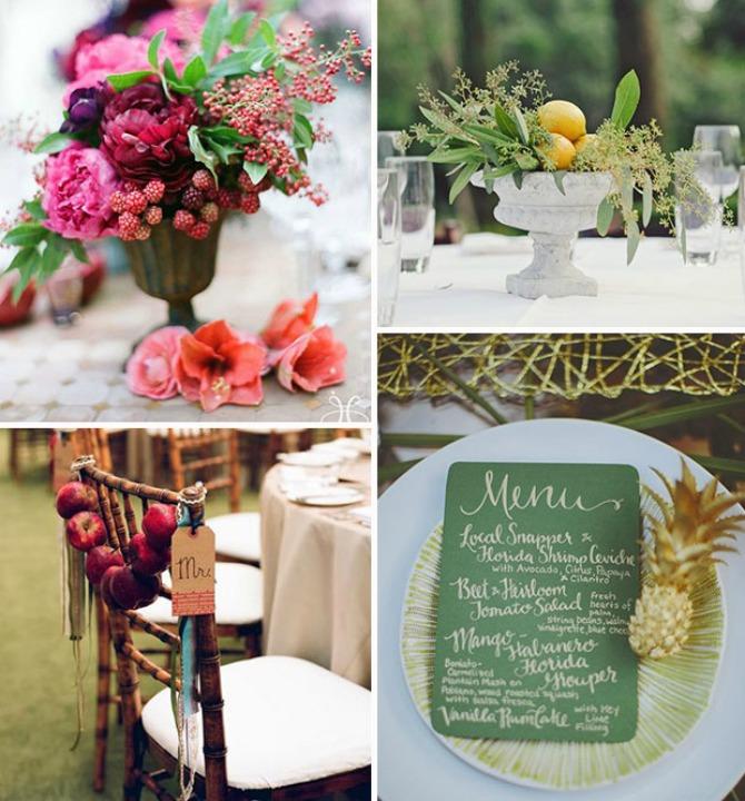 dekoracija vocem Umesto cvećem venčanje dekorišite voćem