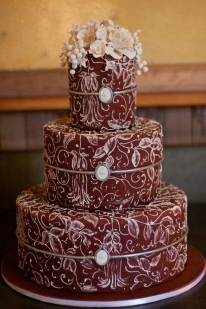 mladenačke torte u boji crvenog vina1 Najlepše mladenačke torte u boji crvenog vina