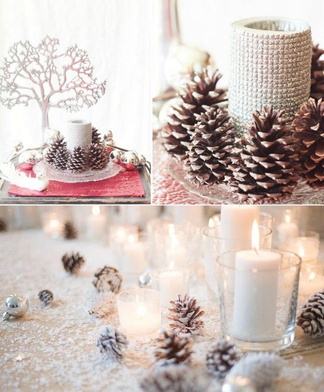 sisarke dekoracija2 Budite originalni i venčanje dekorišite šišarkama