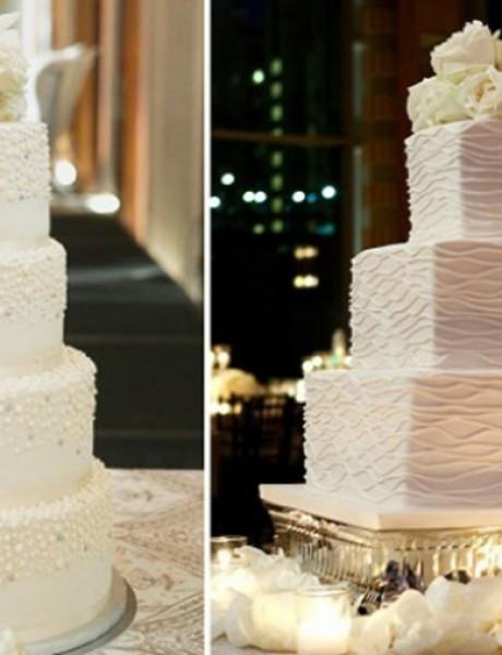 Bela mladenačka torta za zimsko venčanje