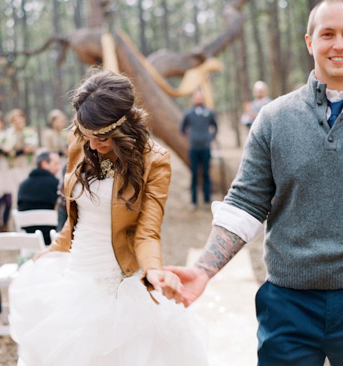 kozna jakna Novi trend nošenja venčanice koji morate isprobati!