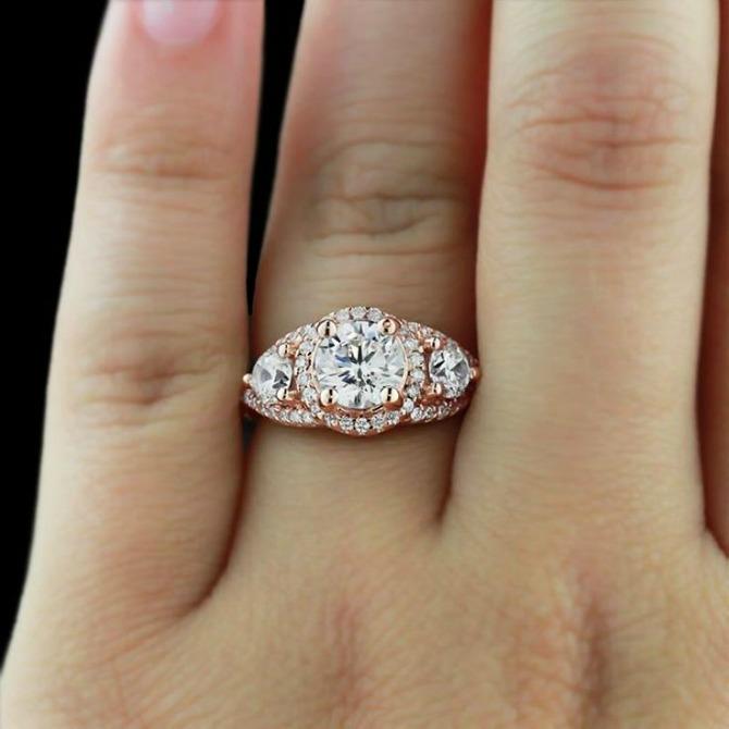 zlatno roze verenicki prsten Najlepše vereničko PRSTENJE u zlatno roze boji