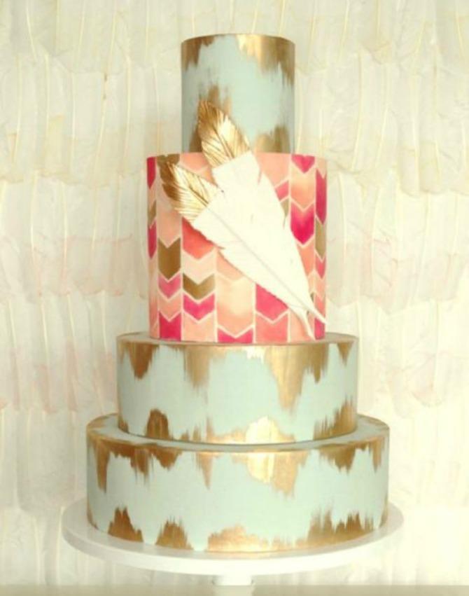 mladenačke torte ukrašene perjem Moderne mladenačke torte ukrašene perjem (GALERIJA)