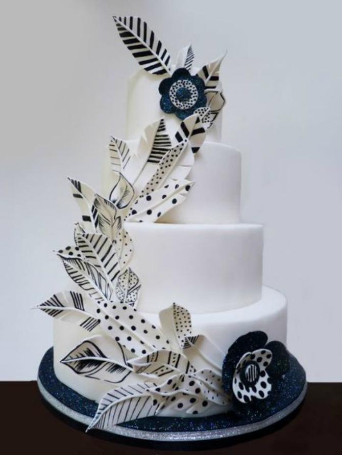 mladenačke torte ukrašene perjem5 Moderne mladenačke torte ukrašene perjem (GALERIJA)