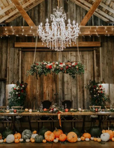 Bundeve kao dekor za venčanje u oktobru
